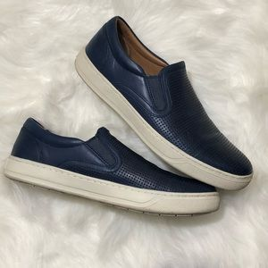 VINCE. Ace Blue Leather Slip Ons